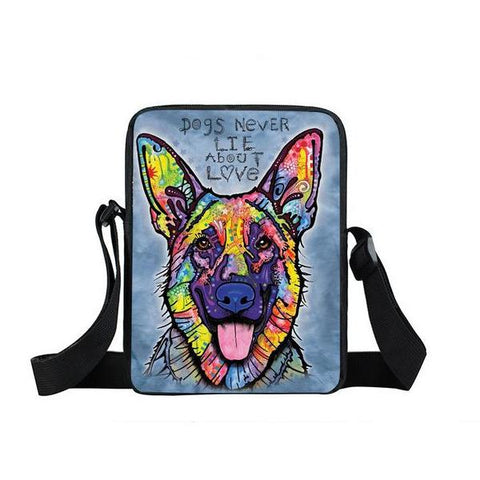 "Psychedelic Dog Print Mini Shoulder / Messenger Bag (9"") German Shepard 2 / Nylon"