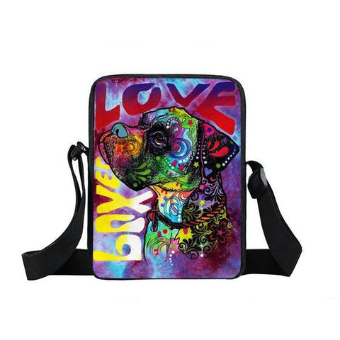 "Psychedelic Dog Print Mini Shoulder / Messenger Bag (9"")"