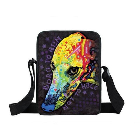 "Psychedelic Dog Print Mini Shoulder / Messenger Bag (9"") Greyhound / Nylon"