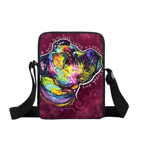 "Psychedelic Dog Print Mini Shoulder / Messenger Bag (9"") Boxer 1 / Nylon"