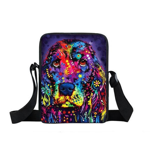 "Psychedelic Dog Print Mini Shoulder / Messenger Bag (9"") Cocker Spanial / Nylon"