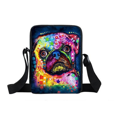 "Psychedelic Dog Print Mini Shoulder / Messenger Bag (9"") Pug / Nylon"