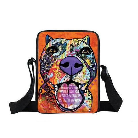 "Psychedelic Dog Print Mini Shoulder / Messenger Bag (9"") Pitbull 2 / Nylon"