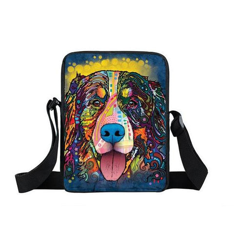 "Psychedelic Dog Print Mini Shoulder / Messenger Bag (9"") Bernese / Nylon"