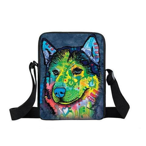 "Psychedelic Dog Print Mini Shoulder / Messenger Bag (9"") Husky / Nylon"