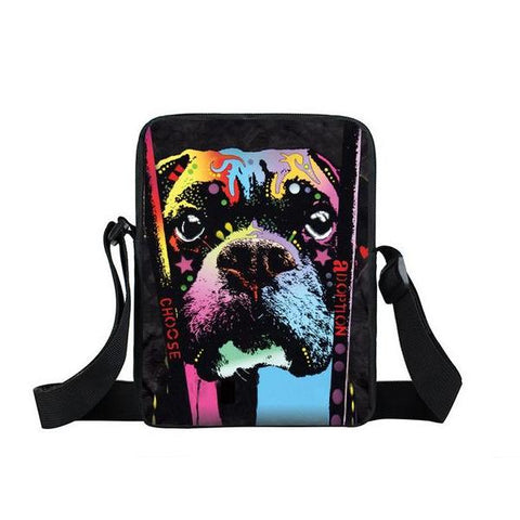 "Psychedelic Dog Print Mini Shoulder / Messenger Bag (9"") Rescue 2 / Nylon"