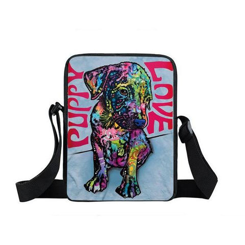"Psychedelic Dog Print Mini Shoulder / Messenger Bag (9"") Puppy / Nylon"