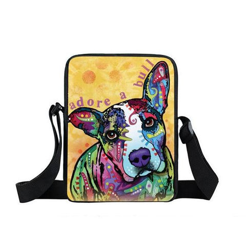 "Psychedelic Dog Print Mini Shoulder / Messenger Bag (9"") Pitbull 3 / Nylon"