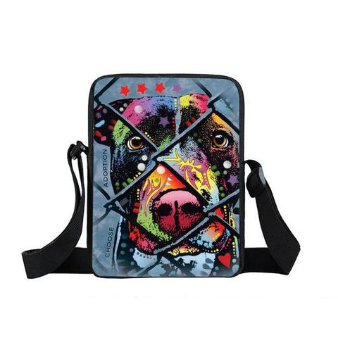 "Psychedelic Dog Print Mini Shoulder / Messenger Bag (9"") Rescue 3 / Nylon"