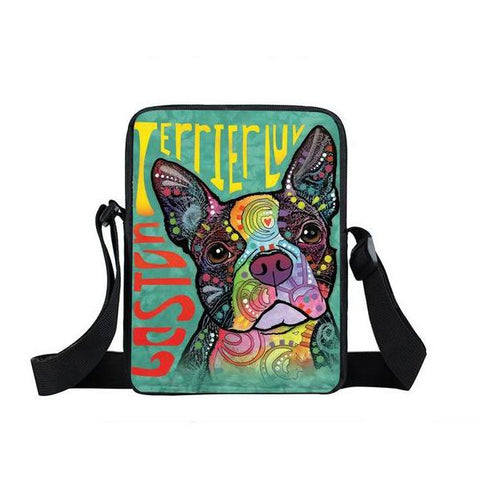 "Psychedelic Dog Print Mini Shoulder / Messenger Bag (9"") Boston Terrier / Nylon"