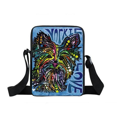 "Psychedelic Dog Print Mini Shoulder / Messenger Bag (9"") Yorkie / Nylon"