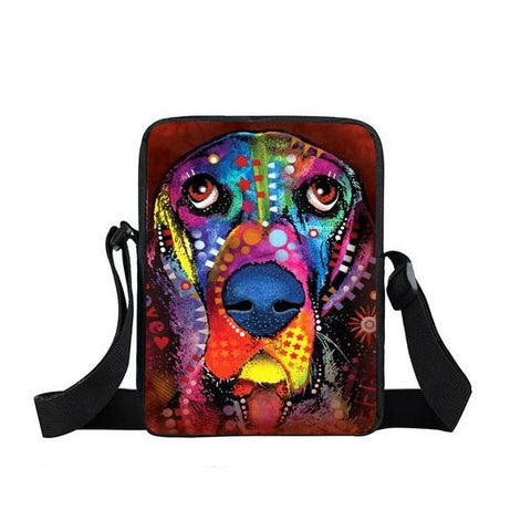 "Psychedelic Dog Print Mini Shoulder / Messenger Bag (9"") Hound / Nylon"