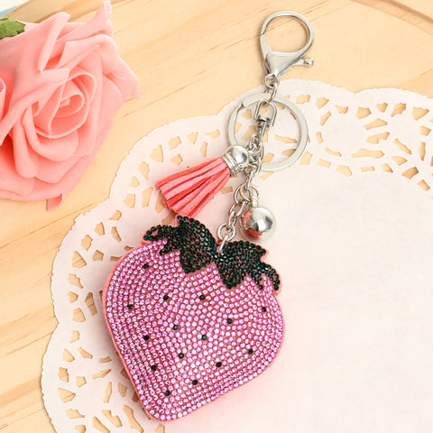 Rhinestone Strawberry Keychain Bag Charm w/ Tassels
