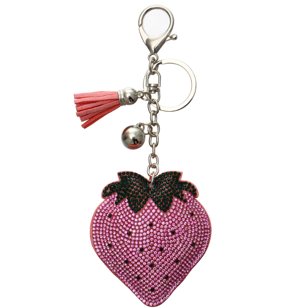 Rhinestone Strawberry Keychain Bag Charm w/ Tassels Pink