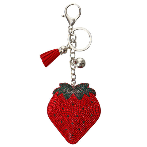 Rhinestone Strawberry Keychain Bag Charm w/ Tassels Red