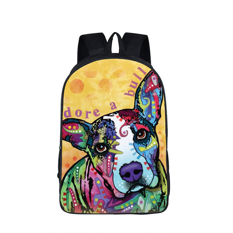 "Colorful Psychedelic Dog Print Backpack (17"") Pit Bull 3 / Nylon"