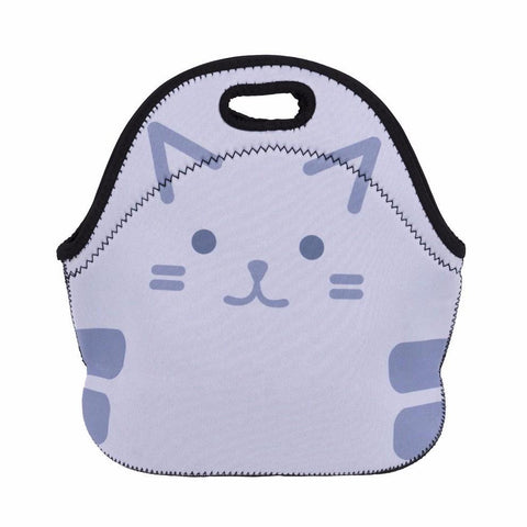 Insulated Neoprene Cute Kitty Cat Lunch Bag