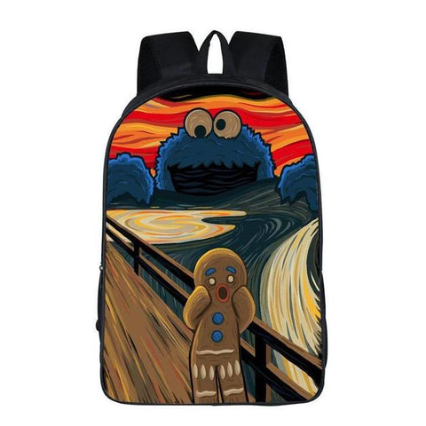 Funny Cookie Monster Scream Art Backpack