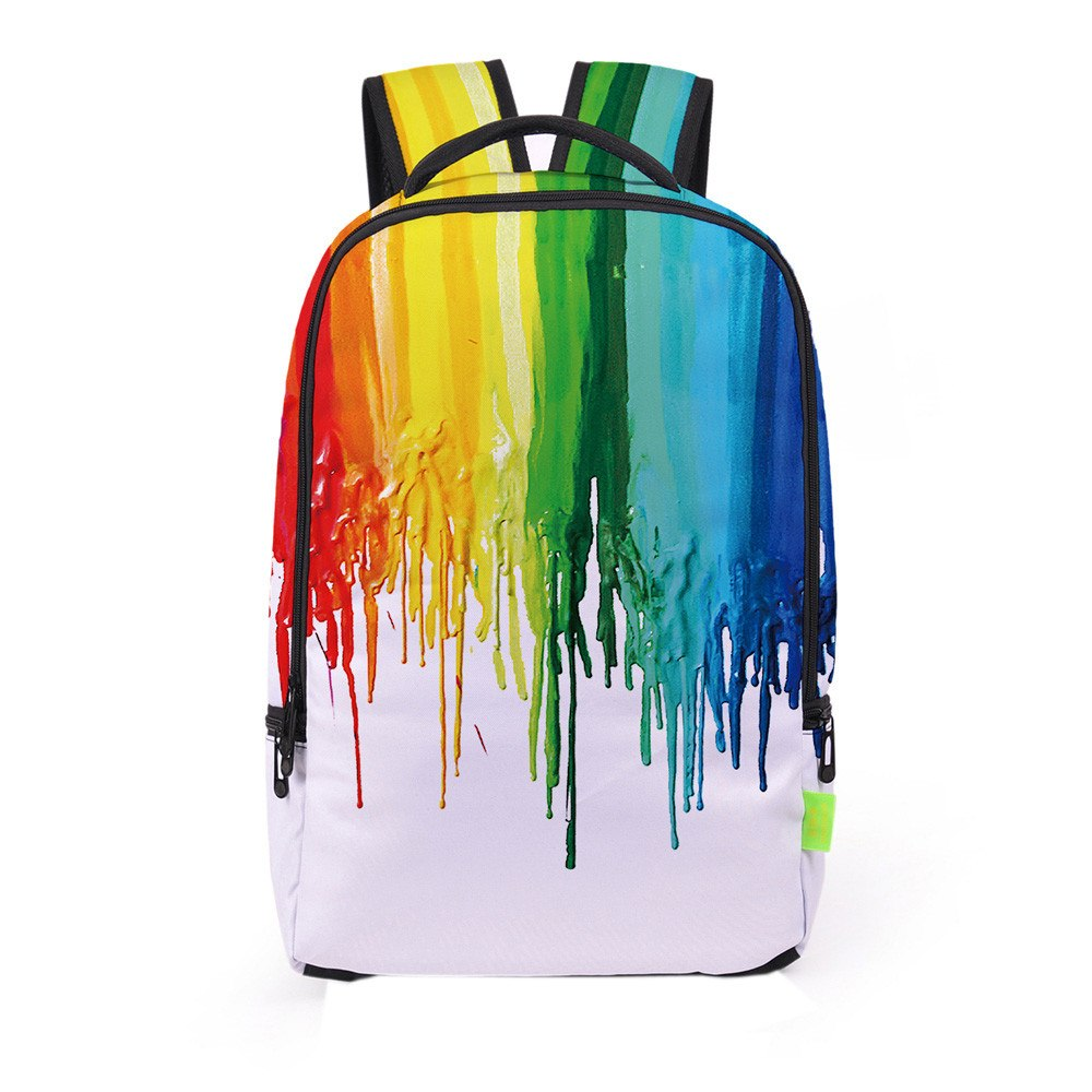 Rainbow Dripping Paint Backpack
