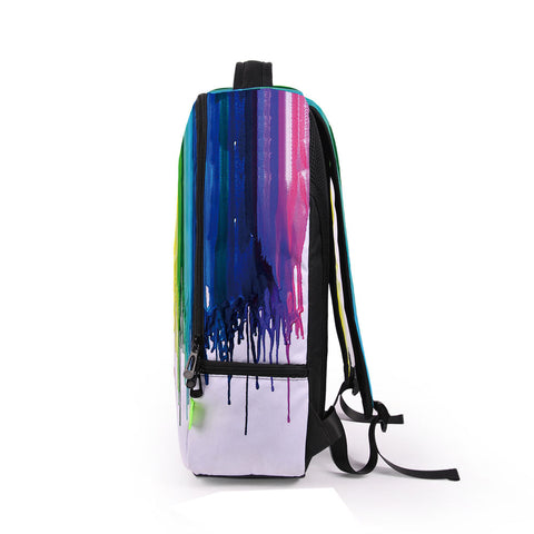 Side of Rainbow Paint Backpack
