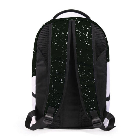 Back of Black Paint Backpack