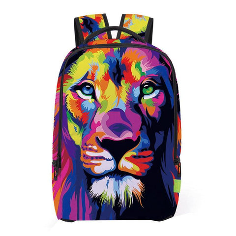 Colorful Lion Print Backpack