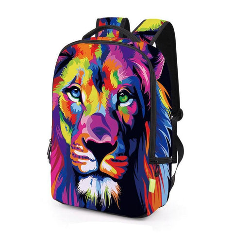 Colorful Abstract Lion Print Backpack