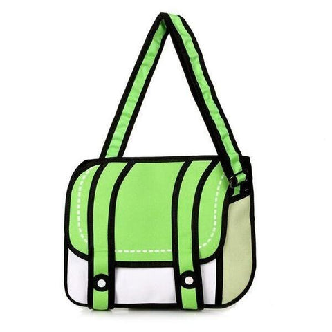 Green 2D Cartoon Messenger Bag