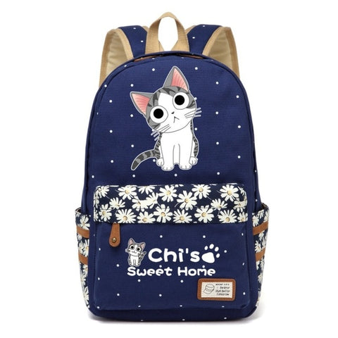 "Chi's Anime Cat Backpack w/ Flowers (17"") Style 4 / Navy"