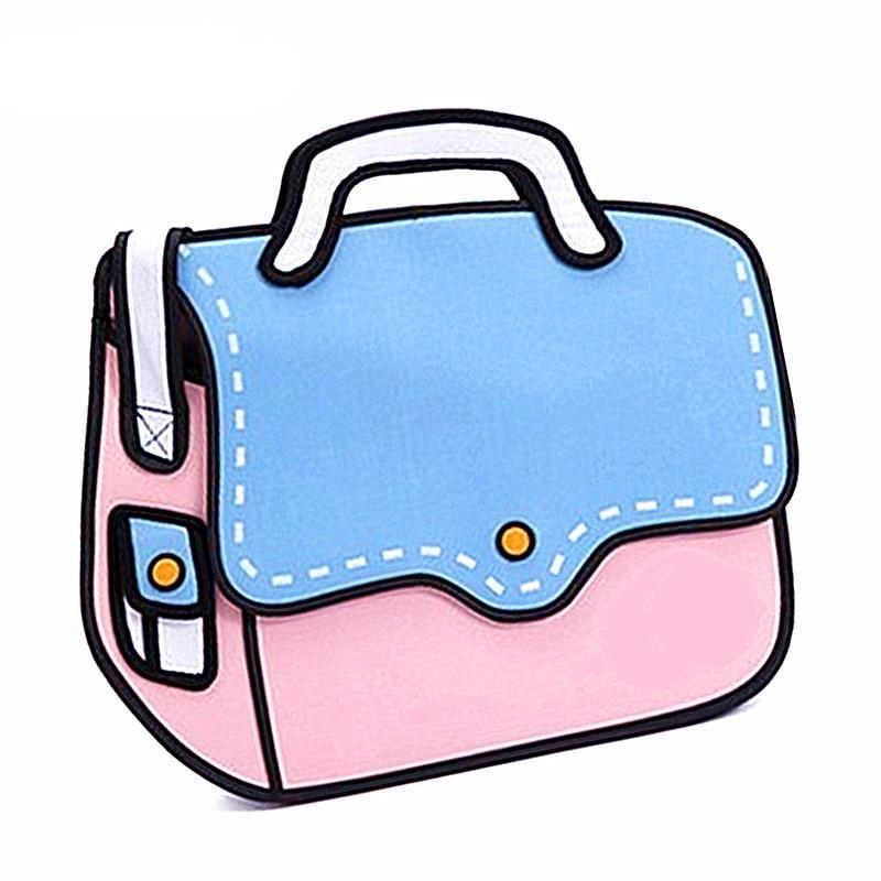 Pink 2D Cartoon Shoulder Bag