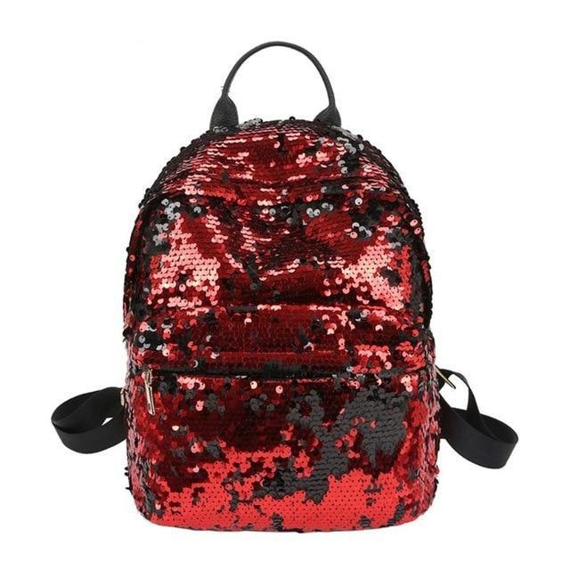 Mini Multi-Color Sequin Backpack Red