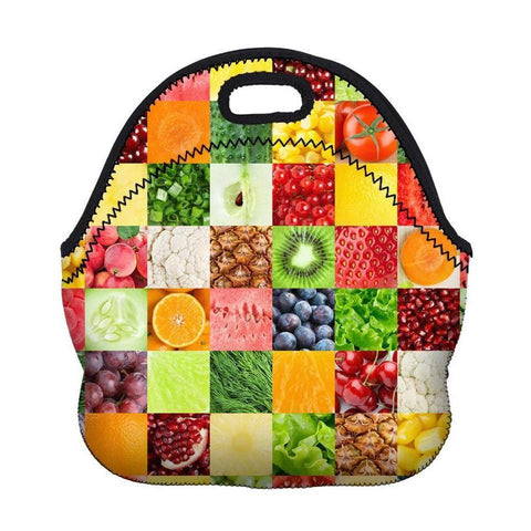 Insulated Neoprene Fruit / Veggie Pattern Lunch Bag