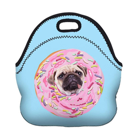 Insulated Neoprene Pug Donut Lunch Bag