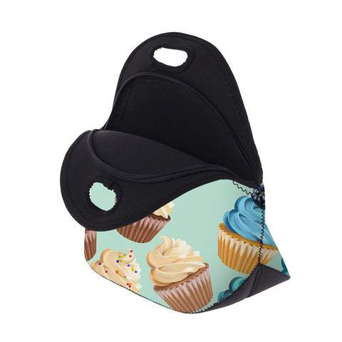 Open Teal Cupcake Lunch Bag