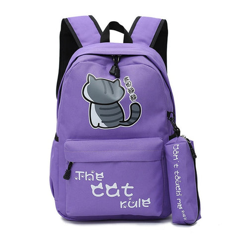 "Neko Atsume Anime Cat Backpack (18"") w/ Pencil Bag Style 2 / Purple"