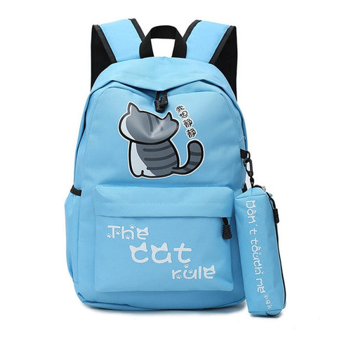 "Neko Atsume Anime Cat Backpack (18"") w/ Pencil Bag Style 2 / Blue"
