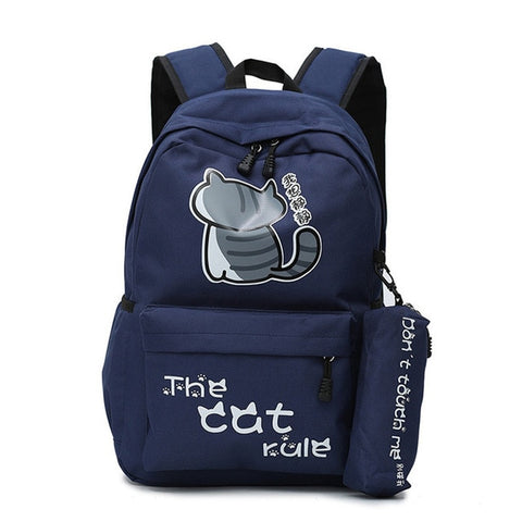 "Neko Atsume Anime Cat Backpack (18"") w/ Pencil Bag Style 2 / Navy"