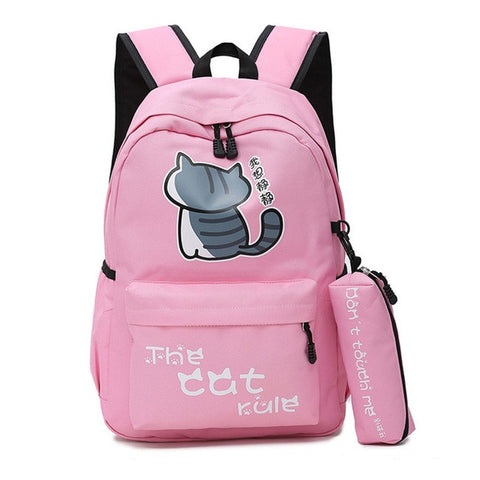 "Neko Atsume Anime Cat Backpack (18"") w/ Pencil Bag Style 2 / Pink"