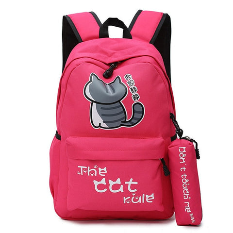 "Neko Atsume Anime Cat Backpack (18"") w/ Pencil Bag Style 2 / Red"