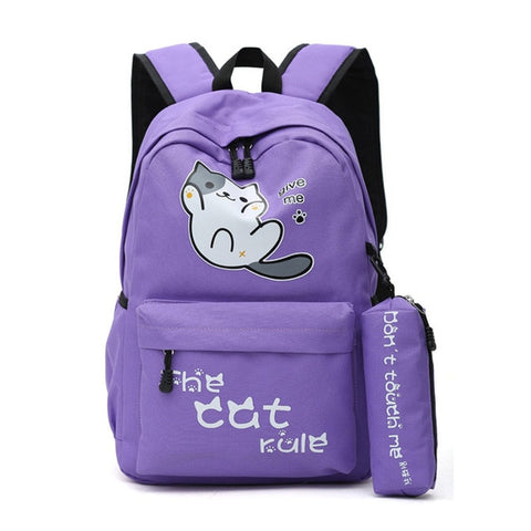 "Neko Atsume Anime Cat Backpack (18"") w/ Pencil Bag Style 1 / Purple"
