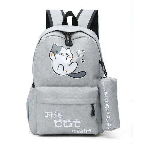 "Neko Atsume Anime Cat Backpack (18"") w/ Pencil Bag Style 1 / Gray"