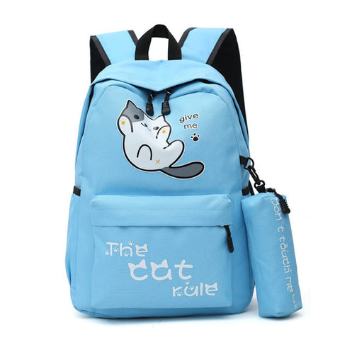 "Neko Atsume Anime Cat Backpack (18"") w/ Pencil Bag Style 1 / Blue"