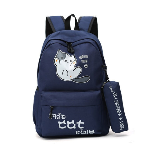 "Neko Atsume Anime Cat Backpack (18"") w/ Pencil Bag Style 1 / Navy"
