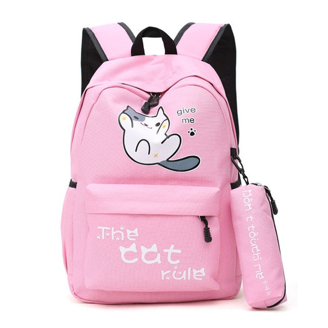 "Neko Atsume Anime Cat Backpack (18"") w/ Pencil Bag Style 1 / Pink"
