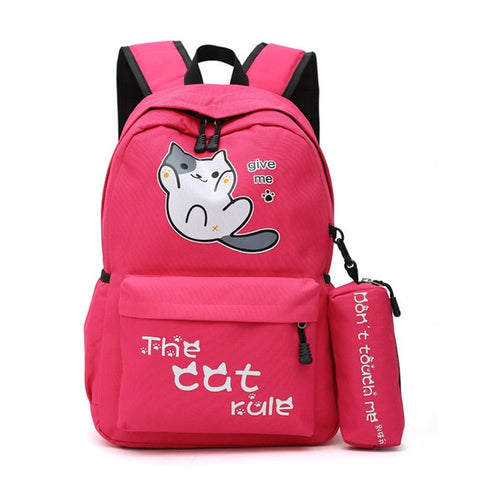"Neko Atsume Anime Cat Backpack (18"") w/ Pencil Bag Style 1 / Red"