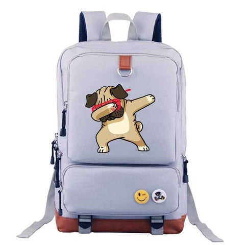 Gray Dabbing Dog Backpack