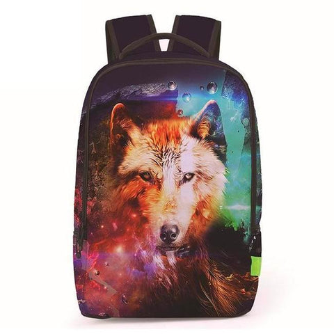 Canvas Cosmic Space Wolf Backpack