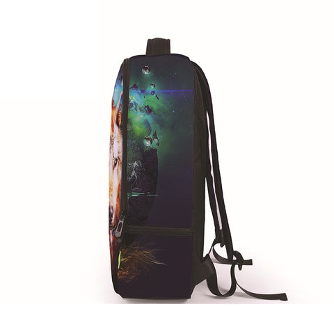 Side of Wolf Print Backpack