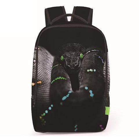 Canvas Black Viper / Snake Print Backpack
