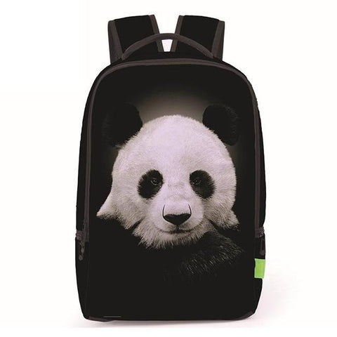 Canvas Panda Print Backpack